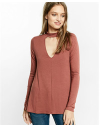 Express Cut Out Trapeze Choker Long Sleeve Tee