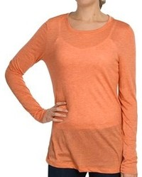 Dylan Heathered Knit Solid T Shirt Long Sleeve