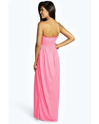 d58704250717e Boohoo Shelley Shirred Bandeau Maxi Dress, $18 | BooHoo | Lookastic.com
