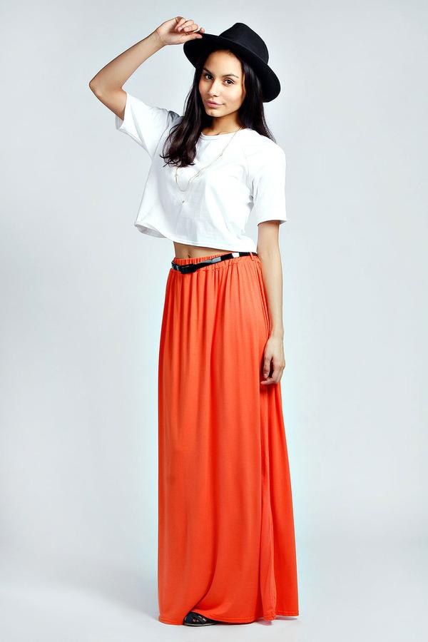 orange maxi skirt boohoo viscose jersey belted