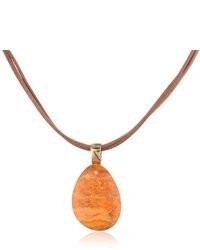 Barse Basics Orange Sponge Coral Pendant Necklace
