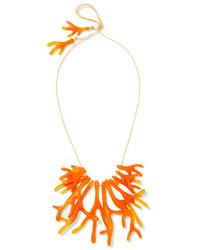 Dinosaur Designs Coral Fan Resin Necklace Orange