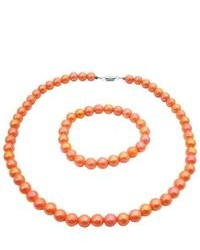FashionJewelryForEveryone Orange Round Beads 10mm Shnny Beads Girls Inexpensive Jewelry Necklace