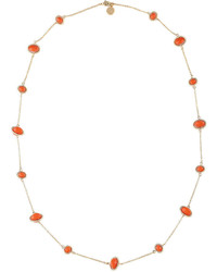 Liz Claiborne Gold Tone Orange Stone Long Strand Necklace