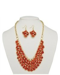 PalmBeachJewelry.com 2 Piece Orange Bib Necklace And Cluster Earrings Set In Yellow Gold Tone