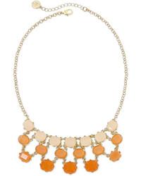 Liz Claiborne Peach Stone Gold Tone Bib Necklace
