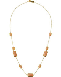 Ippolita Rock Candy Gelato 18k Rectangle Peach Moonstone Station Necklace