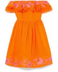 Mary Katrantzou Marietta Off The Shoulder Embroidered Canvas Mini Dress