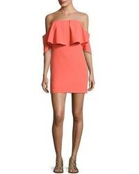 Trina Turk Mirador Off The Shoulder Popover Mini Dress Orange Spritz