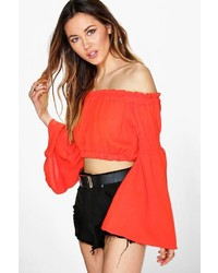 Boohoo Emma Kimono Sleeve Off The Shoulder Crop Top