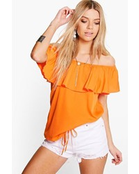Boohoo Eva Woven Frill Hem Off The Shoulder Top