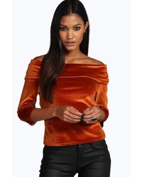 Boohoo Sophie Velvet Off The Shoulder Top