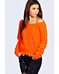Boohoo Natalie Slash Neck Crop Fisherman Jumper