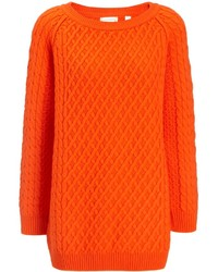 Chinti and Parker Orange Merino Oversize Aran Jumper