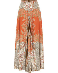 Printed silk crepe maxi skirt medium 130022