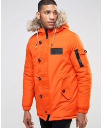 Mens Orange Parka Jacket