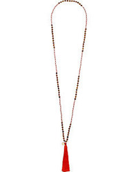 French Connection Beaded Tassel Pendant Necklace