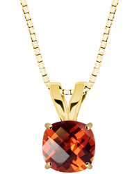 Fine Jewelry Lab Created Checkerboard Cut Padparascha Sapphire 10k Yellow Gold Pendant Necklace