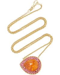 Lauren K Mandarin Garnet Pink Sapphire Emily Necklace
