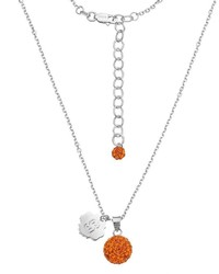 Syracuse Orange Crystal Sterling Silver Team Logo Ball Pendant Necklace