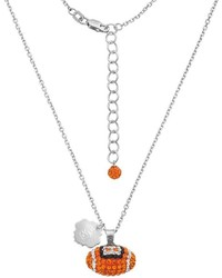 Syracuse Orange Sterling Silver Team Logo Crystal Football Pendant Necklace