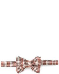 Tom Ford Textured Plaid Bow Tie Orange
