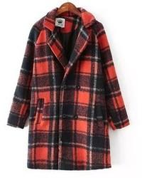 ChicNova Vintage Woolen Plaid Coat