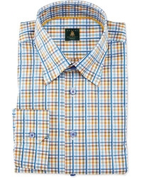 Robert Talbott Plaid Woven Dress Shirt Teal