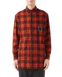 Orange Plaid Flannel Long Sleeve Shirt