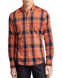 Orange Plaid Long Sleeve Shirt