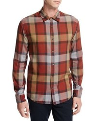 Buffalo plaid sport shirt orange medium 3729248