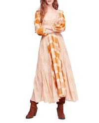 Orange Plaid Midi Dress