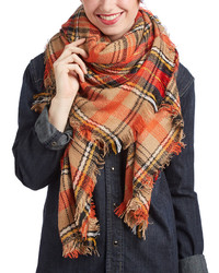 Orange Tan Plaid Blanket Scarf