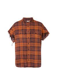 Orange Plaid Short Sleeve Shirt