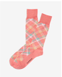 Express Bright Plaid Dress Socks