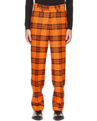 S.R. STUDIO. LA. CA. Orange Black Plaid 417 Straight Leg Trousers