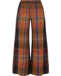 Missoni Checked Crochet Knit Wide Leg Pants