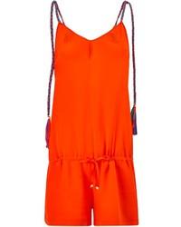 Lazul Orange Silk Skyla Short Playsuit