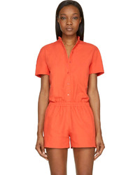 Cédric Charlier Orange Cotton Button Down Jumpsuit