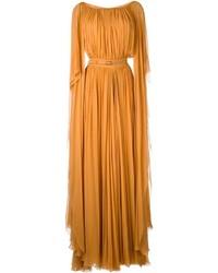 Orange Pleated Evening Dress