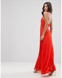 Halter neck pleated maxi dress with open back medium 4420858