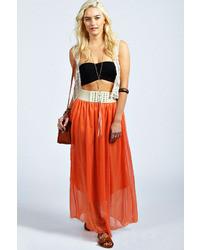 Boohoo mai chiffon belted waistband maxi skirt medium 35510