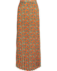 House of Holland Pleated Floral Print Crepe Maxi Skirt Orange