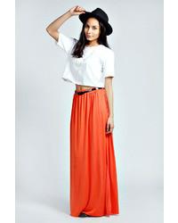 Vivian viscose jersey belted maxi skirt medium 35509