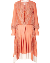 Chloé Med Mousseline And Pleated Crepe Midi Dress