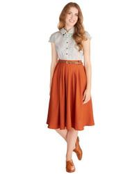 Orange Pleated Midi Skirt