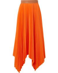 Loewe Asymmetric Med Pleated Poplin Midi Skirt