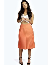 Women's Orange Pleated Midi Skirts by Boohoo | Women's Fashion
