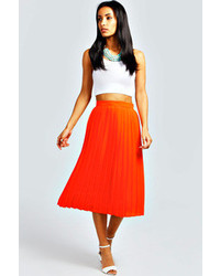 Boohoo leanna pleated woven midi skirt medium 92815
