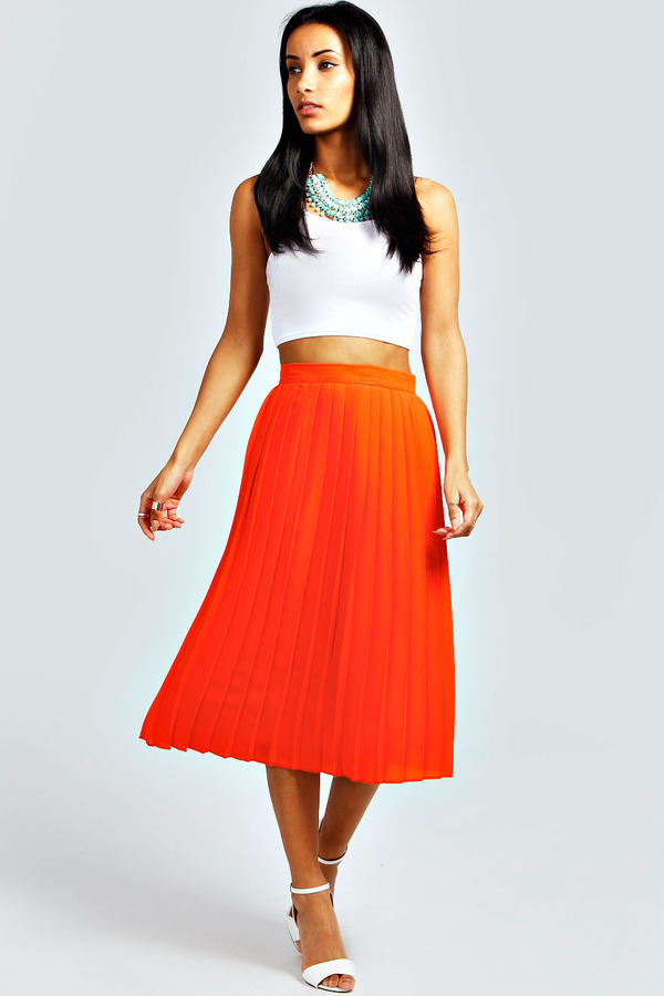 Orange Pleated Midi Skirt - Dress Ala